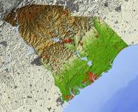 South Carolina, mapa de relevo Ilustração do Vetor