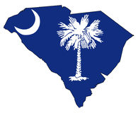 South Carolina Outline Map and Flag. Outline map of the state of South Carolina with map inset Royalty Free Stock Image