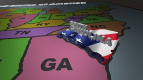 South Carolina pull out from USA states abbreviations map. State South Carolina pull out from USA map with american flag on background. A map of the US showing stock video