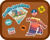 South Carolina, Rhode Island travel stickers with scenic attractions. And retro text on vintage suitcase background Royalty Free Stock Images