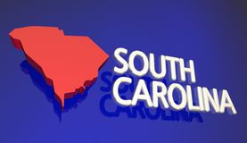 South Carolina SC Red State Map Name Words Stock Photos