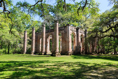 South Carolina Sheldon Church Ruins. A historic site of the old Sheldon Church ruins from the 1750s which stand amid oaks covered in spanish moss in Yemassee royalty free stock images