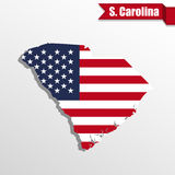 South Carolina State map with US flag inside and ribbon Royalty Free Stock Photo