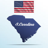 South Carolina state with shadow with USA waving flag Royalty Free Stock Image