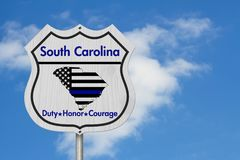 South Carolina Thin Blue Line Highway Sign Stock Images