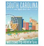 South Carolina travel poster or sticker. Vector illustration of Myrtle Beach with hotels, ferris wheel and people on the beach Royalty Free Stock Images