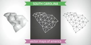 South- Carolinasatz Grau und polygonale Karten des Silbermosaiks 3d Grafische Vektordreieckgeometrieentwurfs-Schattenperspektive  Lizenzfreies Stockbild