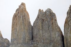 South and Central Tower of Paine at the Torres del Paine National Park, Chilean Patagonia, Chile. South and Central Tower of Paine at the Torres del Paine royalty free stock images