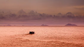 South China Sea Chinese junk. Chinese junk, sunrise at seaside in Macau, China Stock Image