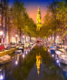 South Church Zuiderkerk and Amsterdam Canals at dusk Stock Photos