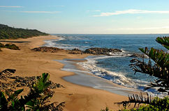 South coast beach. Lovely seascape of a typical beach in the south coast of South Africa Royalty Free Stock Images