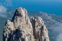 Battlements of Mount Ai-Petri, Crimea. The south coast of Crimea. Battlements of Mount Ai-Petri, Crimea stock images