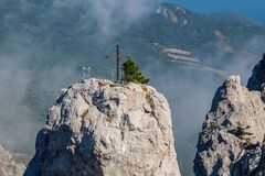Battlements of Mount Ai-Petri, Crimea. The south coast of Crimea. Battlements of Mount Ai-Petri, Crimea stock photo