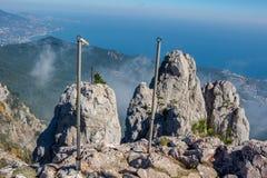 Battlements of Mount Ai-Petri, Crimea. The south coast of Crimea. Battlements of Mount Ai-Petri, Crimea royalty free stock photo