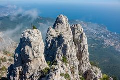 Battlements of Mount Ai-Petri, Crimea. The south coast of Crimea. Battlements of Mount Ai-Petri, Crimea royalty free stock images