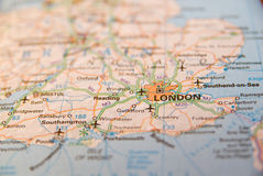 South coast of England map. Map of London and South coast of England Stock Image