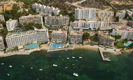South coast hotels near the sea in the island of mallorca. South coast of the island of Mallorca aerial view, detail over the hotel crowded area Stock Photo