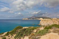 South coast of Milos island landscape, Creece Royalty Free Stock Photos