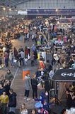 The South corridor at the Foodfestival. Amsterdam, the Netherlands - November 29, 2015: The busy south corridor with visitors in the Europe Complex (Europahal) Royalty Free Stock Image