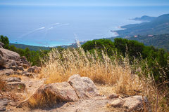 South Corsica, coastal landscape with dry grass Royalty Free Stock Images