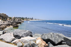 South Cottesloe Beach: Limestone Cliffs and Reef Stock Photography