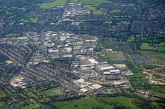 South Croydon, Aerial View. Aerial view of the Purley Way trunk road and large shops and light industrial area in South Croydon, London Royalty Free Stock Photos