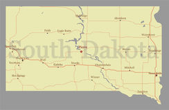 South Dacota vector accurate high detailed State Map with Commun Stock Photo