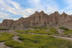 South Dakota Badlands Range with sky Stock Photos