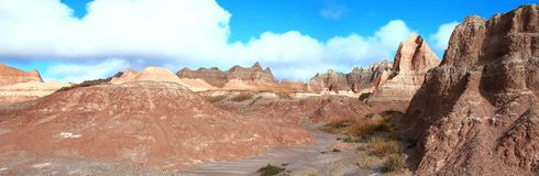 South Dakota Badlands ridgeline panorama. South Dakota Badlands ridge line with rock layers Royalty Free Stock Photos