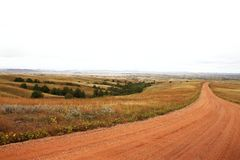 South Dakota countryside. Rural South Dakota road through prairie region Stock Photo