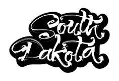 South Dakota etikett Modern kalligrafihandbokstäver för serigrafitryck Arkivfoto
