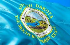 South Dakota flagga 3D som vinkar design för USA tillståndsflagga MedborgareUSA-symbolet av den South Dakota staten, tolkning 3D  royaltyfri bild