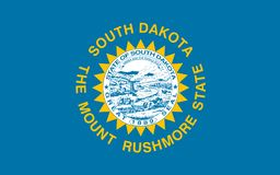 South Dakota flagga också vektor för coreldrawillustration Amerika tillstånd förenade vektor illustrationer