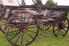South Dakota Frontier farm wagon. Wooden farm wagon parked in a South Dakota frontier town Stock Images