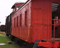 South Dakota Frontier railroad caboose. Wooden railroad tracks in a South Dakota frontier town royalty free stock photo