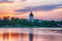 South Dakota huvudbyggnad på solnedgången fotografering för bildbyråer