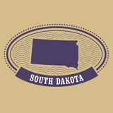 South Dakota map silhouette - stamp of state Stock Photos