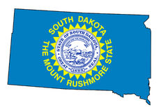 South Dakota Outline Map and Flag. Outline of the state of South Dakota isolated with flag inset Royalty Free Stock Photo