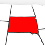 South Dakota Red Abstract 3D State Map United States America Royalty Free Stock Photo