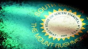South Dakota State Flag Waving, grunge look stock video
