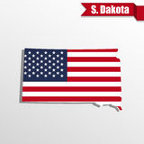 South Dakota State map with US flag inside and ribbon Royalty Free Stock Image