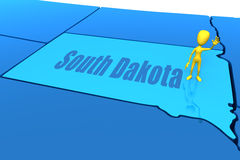 South Dakota state yellow stick figure Stock Images