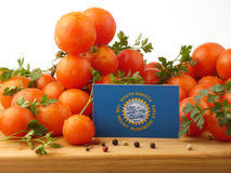 South- Dakotaflagge auf einer Holzverkleidung mit den Tomaten lokalisiert auf a Lizenzfreie Stockfotografie