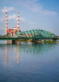 South Detroit River Bridge at Power Plant Royalty Free Stock Photos