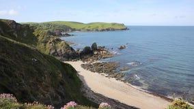 South Devon coast to Hope Cove England UK near Kingsbridge and Thurlestone stock video footage