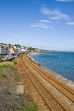 South Devon Railway Sea Wall. The South Devon Railway was built to the designs of Isambard Kingdom Brunel and takes a route from Exeter which is in the county of Royalty Free Stock Photos