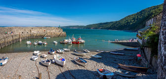 South devonshire harbour. Clovelly harbour in Devon, south england, panoramic view stock photos