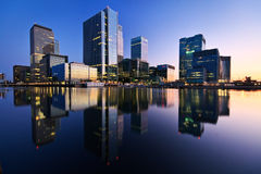 South dock and Canary Wharf, London. Royalty Free Stock Photography
