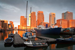 South dock and Canary Wharf, London. Stock Photos
