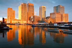 South dock and Canary Wharf, London. Stock Photo